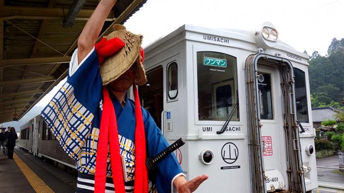 03九州觀光列車(上)01列車抵達時會有歡迎儀式(海幸山幸號)