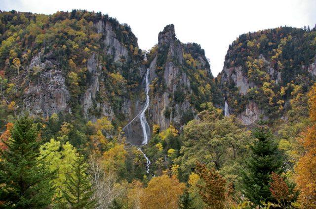 北海道賞楓: 流星/銀河瀑布; 令人鐵腿的雙瀑台XD   林氏璧和美狐團三狐的小天地